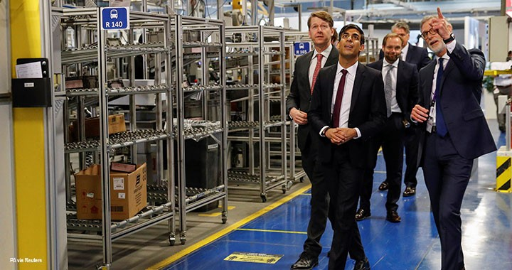 Chancellor of the Exchequer Rishi Sunak speaks to the CEO of Worcester Bosch, Carl Arntzen (right), during his visit to the Worcester Bosch factory, 9 July 2020.