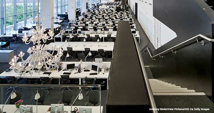 This 2014 photo of Net-a-Porter's London head office shows an example of an open seating plan.