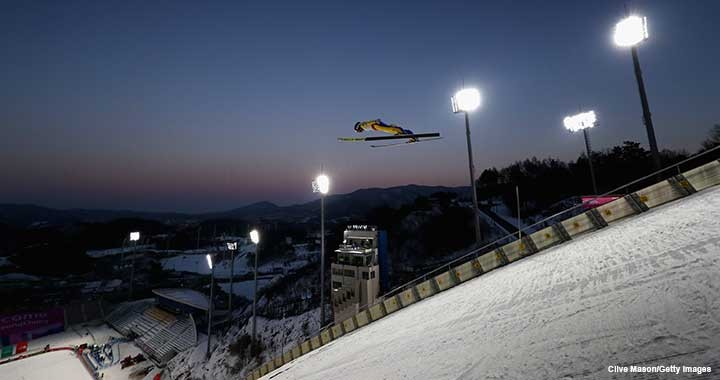Philipp Aschenwald of Austria in action at the ski jumping centre that will host the event for the 2018 Winter Olympics in February.