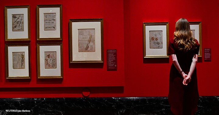 Leonardo da Vinci's anatomical studies are part of an exhibition of the artist's drawings until 13 October 2019 at The Queen's Gallery, Buckingham Palace, in London.