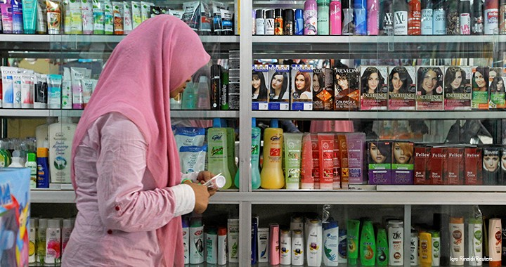 Cosmetics, like these for sale in Indonesia, can be certified as halal if they contain no ingredients derived from non-halal animals.