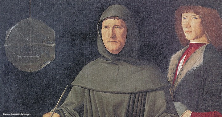 A portrait of the Father of Accounting, Luca Pacioli, circa 1495–1500, attributed to the Italian Renaissance artist Jacopo de' Barbari.