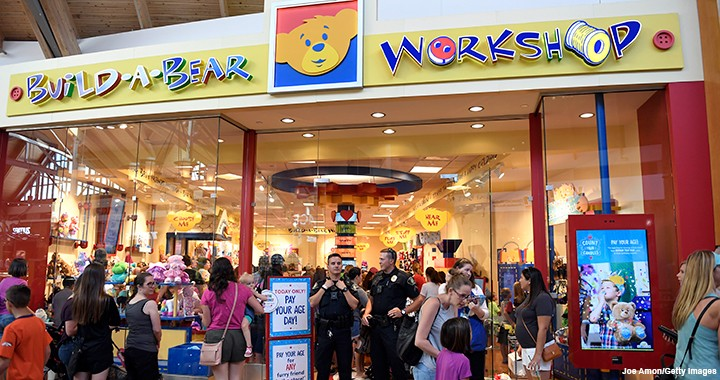 "Eager customers line up to take advantage of Build-A-Bear Workshop's ""Pay Your Age Day"" in Colorado on 12 July 2018."