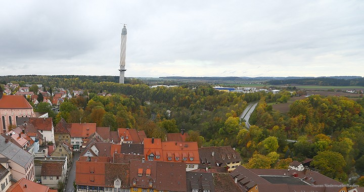 Thyssenkrupp's 246-metre-tall tower dominates the skyline above Rottweil, Germany.