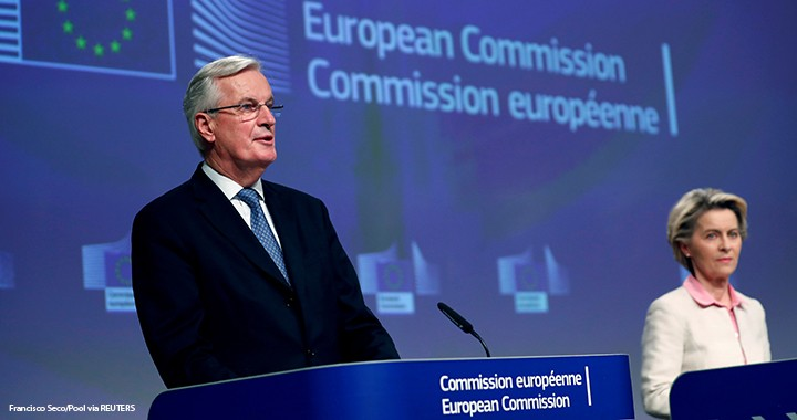European Union's chief Brexit negotiator Michel Barnier gives a statement on the outcome of the Brexit negotiations next to European Commission President Ursula von der Leyen, in Brussels, Belgium, 24 December 2020.