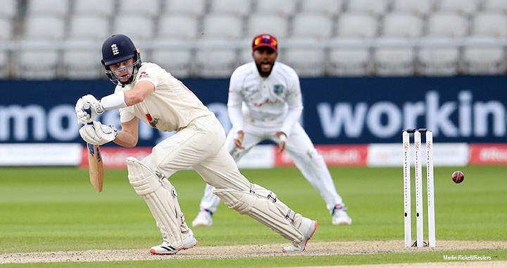 England's Ollie Pope, in action in the third test between England and the West Indies at Emirates Old Trafford in Manchester, UK, in July, as matches resumed behind closed doors following the outbreak of the coronavirus disease.