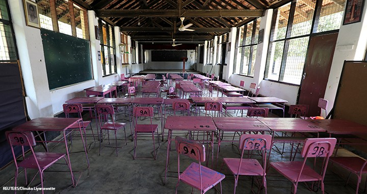 A view of an empty classroom after the government issued an order to close all schools in the country as its first coronavirus case was confirmed, in Colombo, Sri Lanka, 13 March 2020.