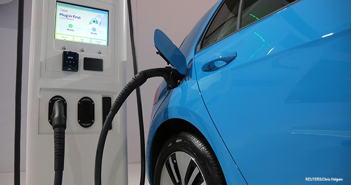 An electric vehicle charging station is seen at the Volkswagen display during the media day at the Canadian International AutoShow in Toronto, Canada, 14 February 2019.