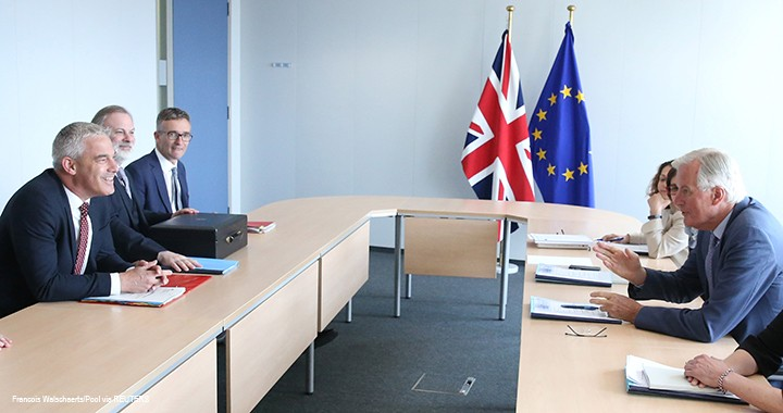 Britain's Secretary of State for Exiting the European Union Stephen Barclay attends a meeting with European Union's chief Brexit negotiator Michel Barnier in Brussels, Belgium.