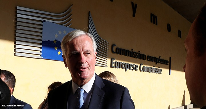 The European Union's chief Brexit negotiator Michel Barnier arrives at the European Commission for a meeting to discuss an extension to the Brexit deadline in Brussels, 28 October 2019.