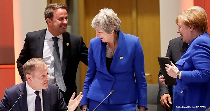 German Chancellor Angela Merkel, Britain's Prime Minister Theresa May, European Council President Donald Tusk, and Luxembourg's Prime Minister Xavier Bettel attend an extraordinary European Union leaders summit to discuss Brexit, in Brussels, Belgium, on 10 April 2019.