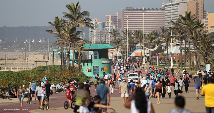 South Africans take to the streets after the relaxation of the quarantine in Durban, South Africa, on 7 June 2020.
