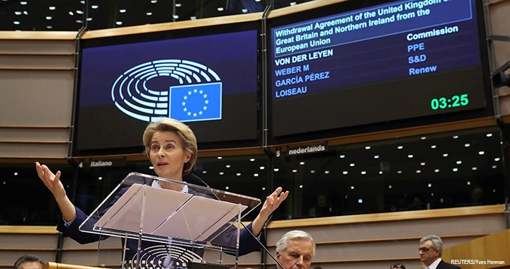 European Commission President Ursula von der Leyen speaks at a session at the European Parliament in Brussels, Belgium, 29 January 2020.
