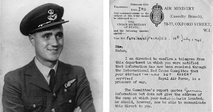 At left: Robert Hutton, in RAF uniform, circa late 1942, having satisfactorily completed his Air Navigators' Advanced Navigation Course with the Royal Canadian Air Force. At right: Telegram from Britain's Air Ministry notifying Hutton's family that he was being held as a POW.