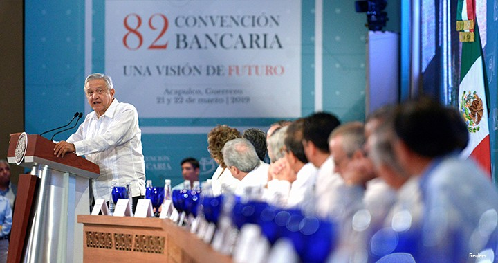 Mexico's President Andrés Manuel López Obrador delivers a speech during the Mexican Banking Association's annual convention in Acapulco, Mexico.