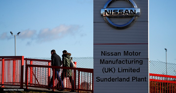 People walk past a sign at the Nissan car plant in Sunderland, Britain, 4 February 2019. (Reuters/Phil Noble)