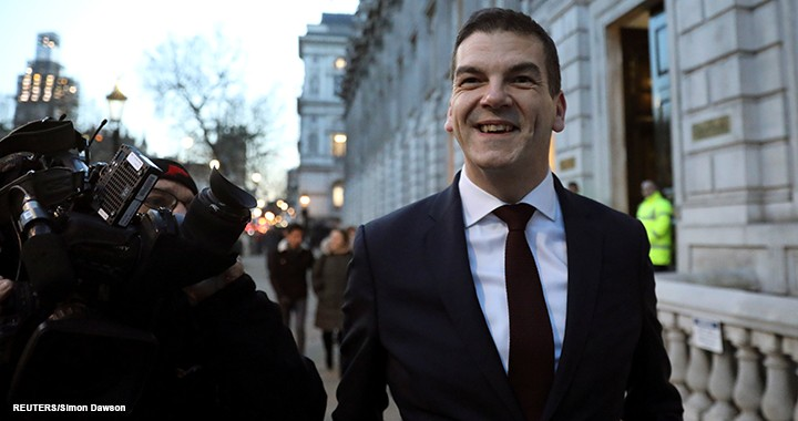 Britain's chief Brexit negotiator Olly Robbins arrives at the Cabinet office in London on 17 January 2019.