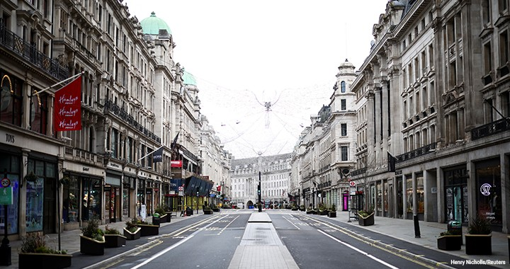 Regent Street in London has been quiet as shops remain closed under restrictions amid the coronavirus pandemic.