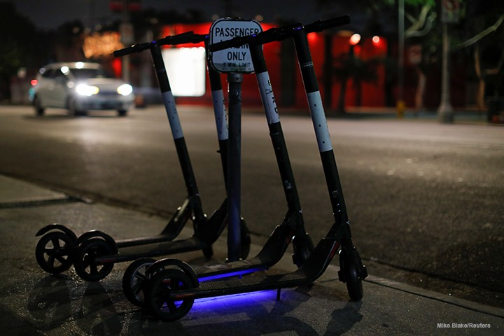 Bird electric scooters placed along Melrose Avenue in Los Angeles.