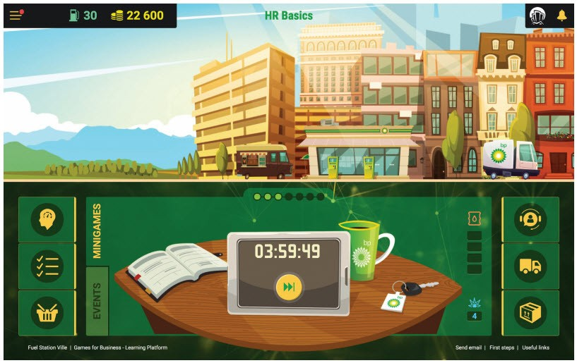 BP created the game Fuel Station Ville to help induct new members of its global business services group who may not have previously worked in the oil industry. Players can earn virtual rewards, as well as real rewards such as a team breakfast.