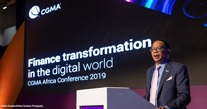 CIMA President Amal Ratnayake, FCMA, CGMA, speaks at the CGMA Africa Conference, attended by around 400 delegates.