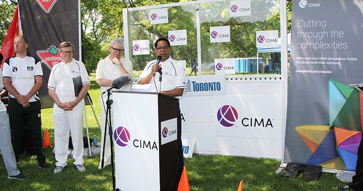 CIMA President Amal Ratnayake, FCMA, CGMA, speaks at the CIMA Mayor's Trophy cricket event in Toronto.