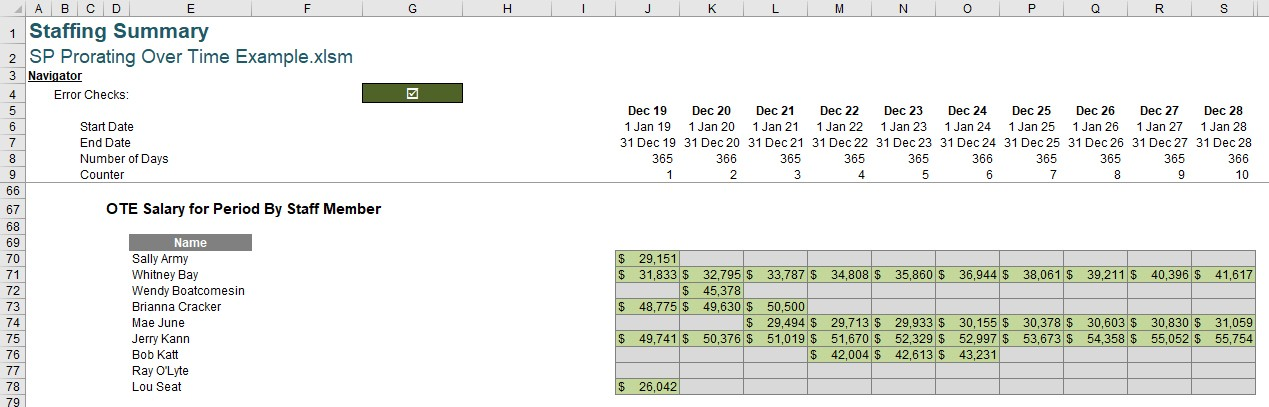 Prorating over time in Excel - FM