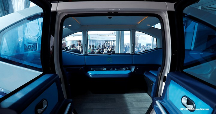 Visitors to CES could peek inside the Mobility Pod, an autonomous shuttle from the Milla Group.