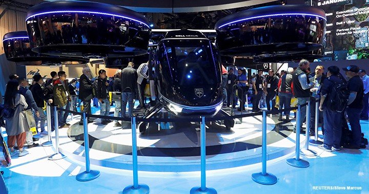 The Bell Nexus vertical takeoff and landing (VTOL) aircraft drew a crowd at CES.