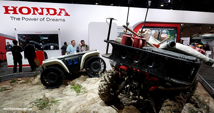 Honda displays two of its Autonomous Work Vehicles at CES.