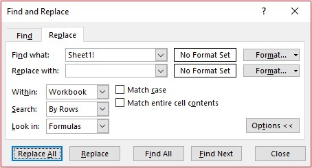 How to reference formulas in same Excel worksheet - FM