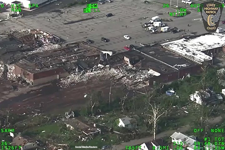 A view of damaged buildings after a series of tornadoes touched down in Ohio.