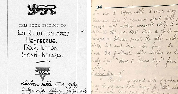 "At left: The front page of Hutton's YMCA logbook detailing the camps where he was a POW. At right: An excerpt from Hutton's logbook that references his receiving a book titled ""How to Draw Dogs"" instead of the text books he had waited for."